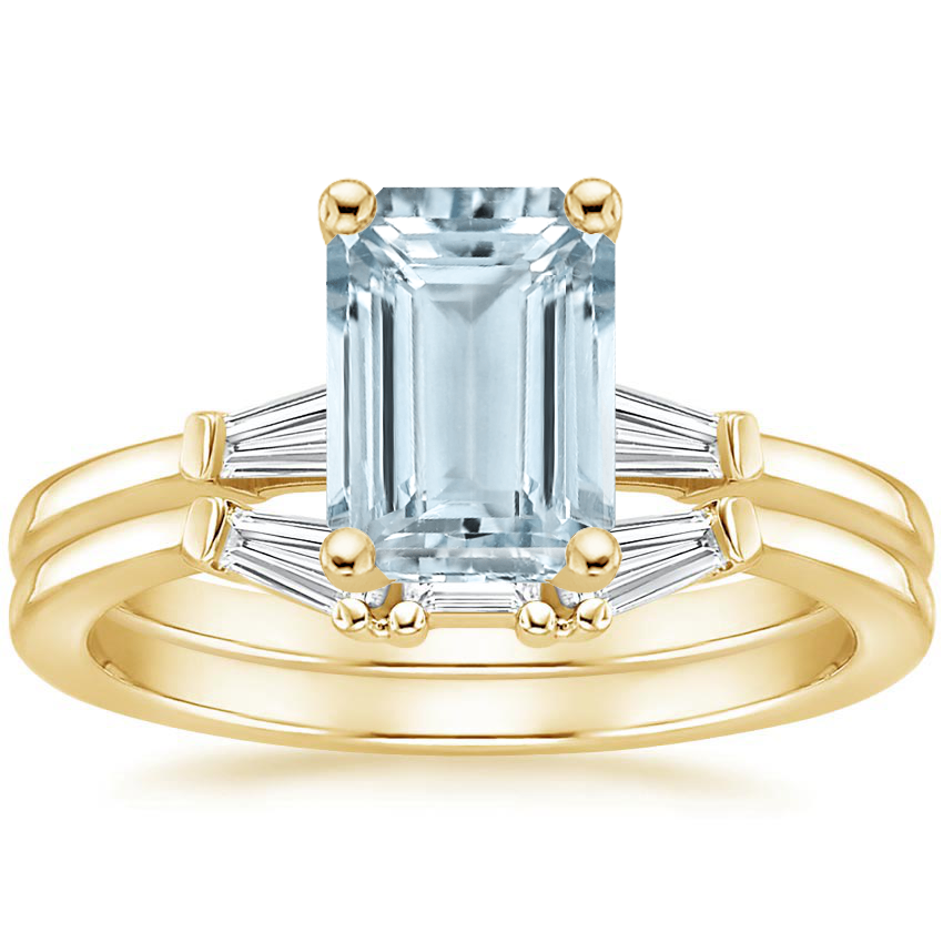 18KY Aquamarine Tapered Baguette Diamond Bridal Set, top view