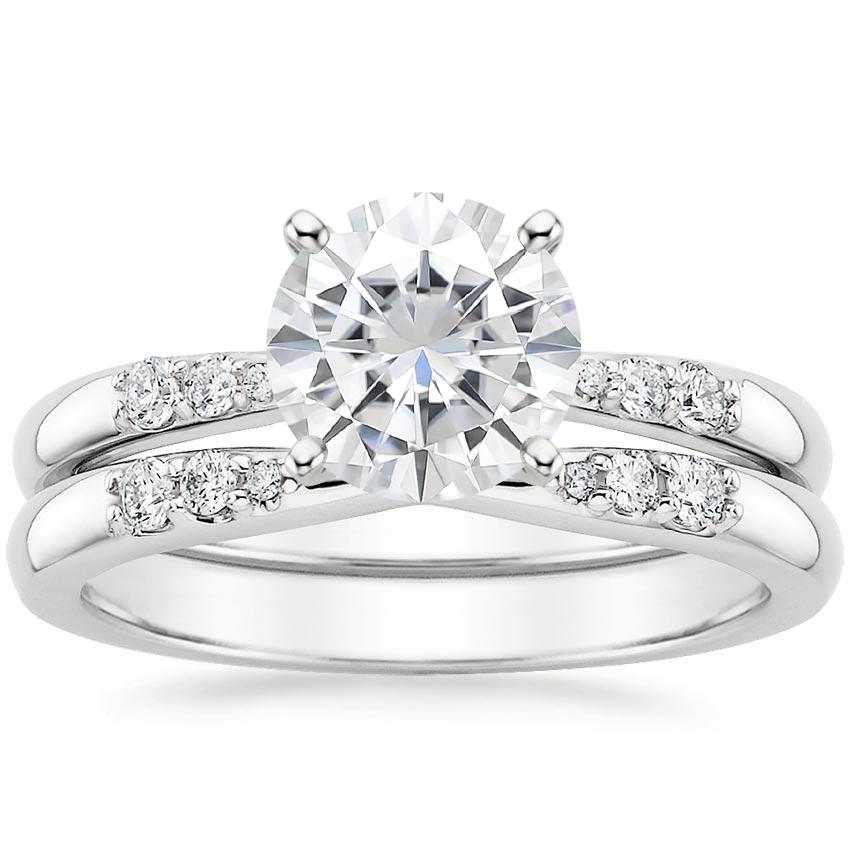 18KW Moissanite Lark Diamond Bridal Set, top view