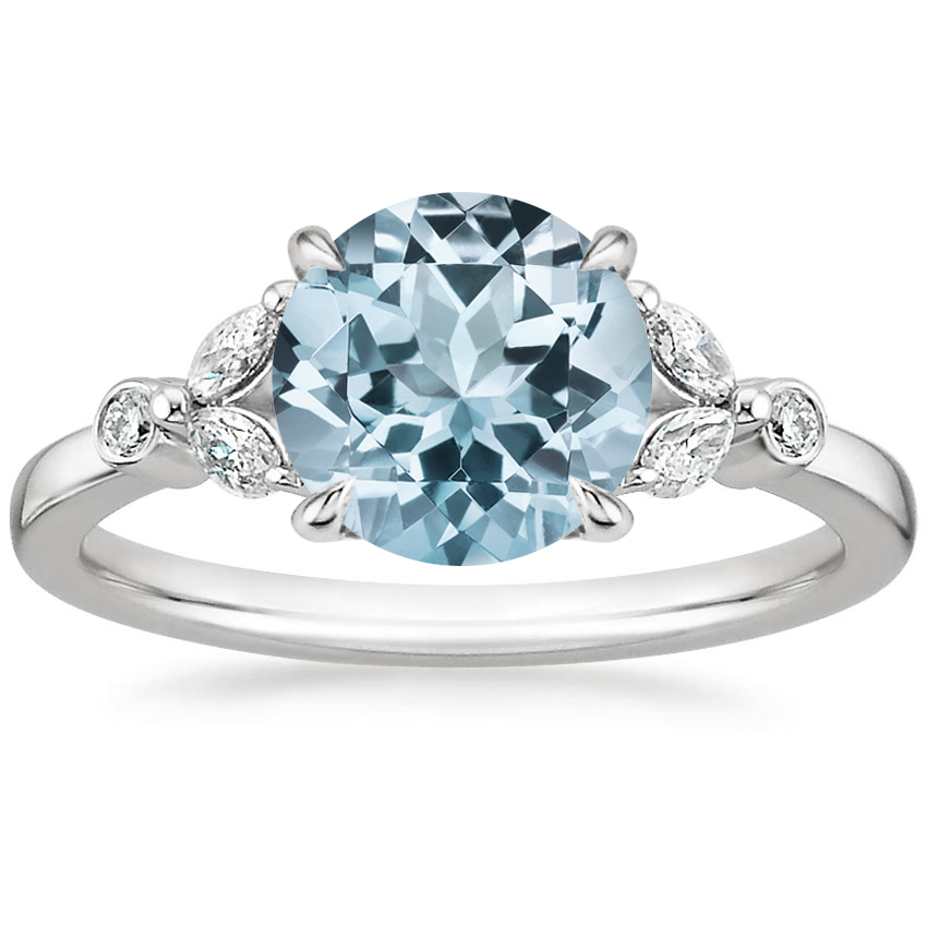 Aquamarine Verbena Diamond Ring in 18K White Gold