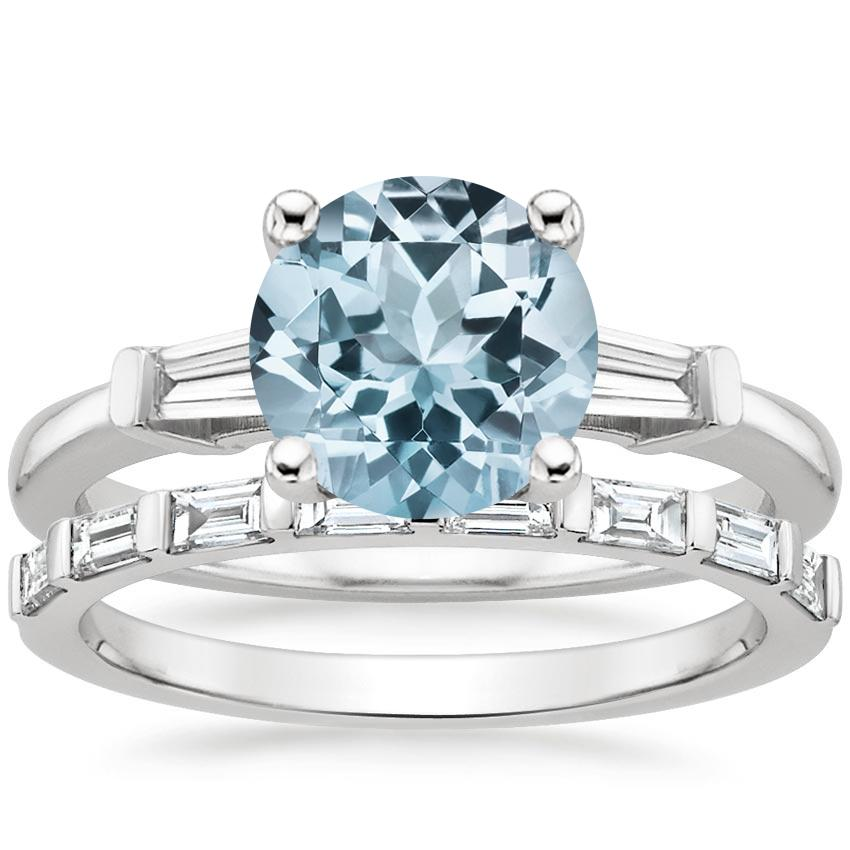 18KW Aquamarine Tapered Baguette Diamond Ring (1/5 ct. tw.) with Barre Diamond Ring (1/4 ct. tw.), top view