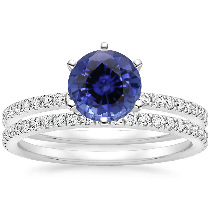PT Sapphire Lyric Diamond Ring with Luxe Ballad Diamond Ring (1/4 ct. tw.), top view