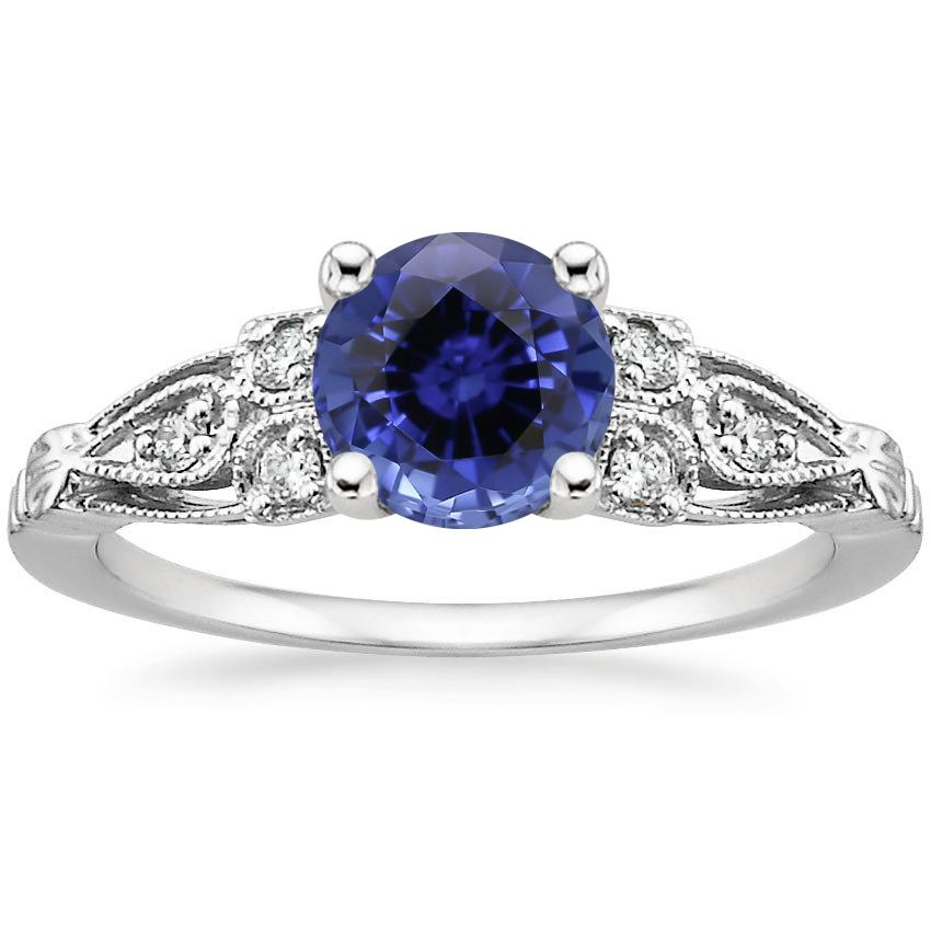 Sapphire Rosabel Diamond Ring in 18K White Gold
