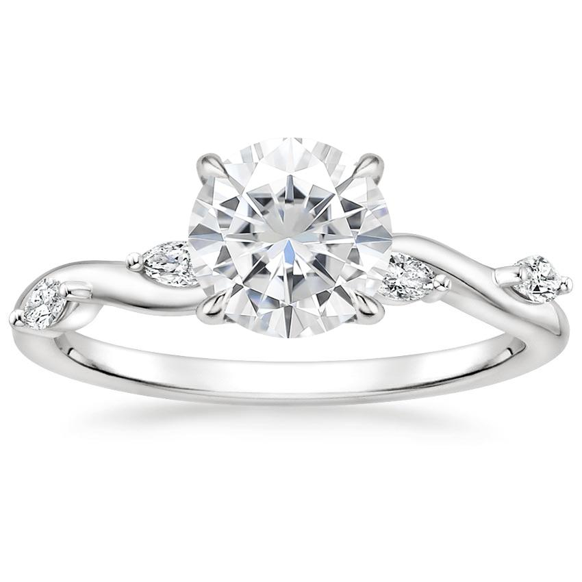 Moissanite Winding Willow Diamond Ring in 18K White Gold