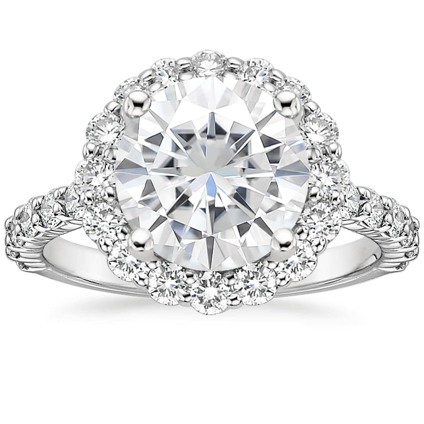 Moissanite Lotus Flower Diamond Ring with Side Stones (3/4 ct. tw.) in 18K White Gold