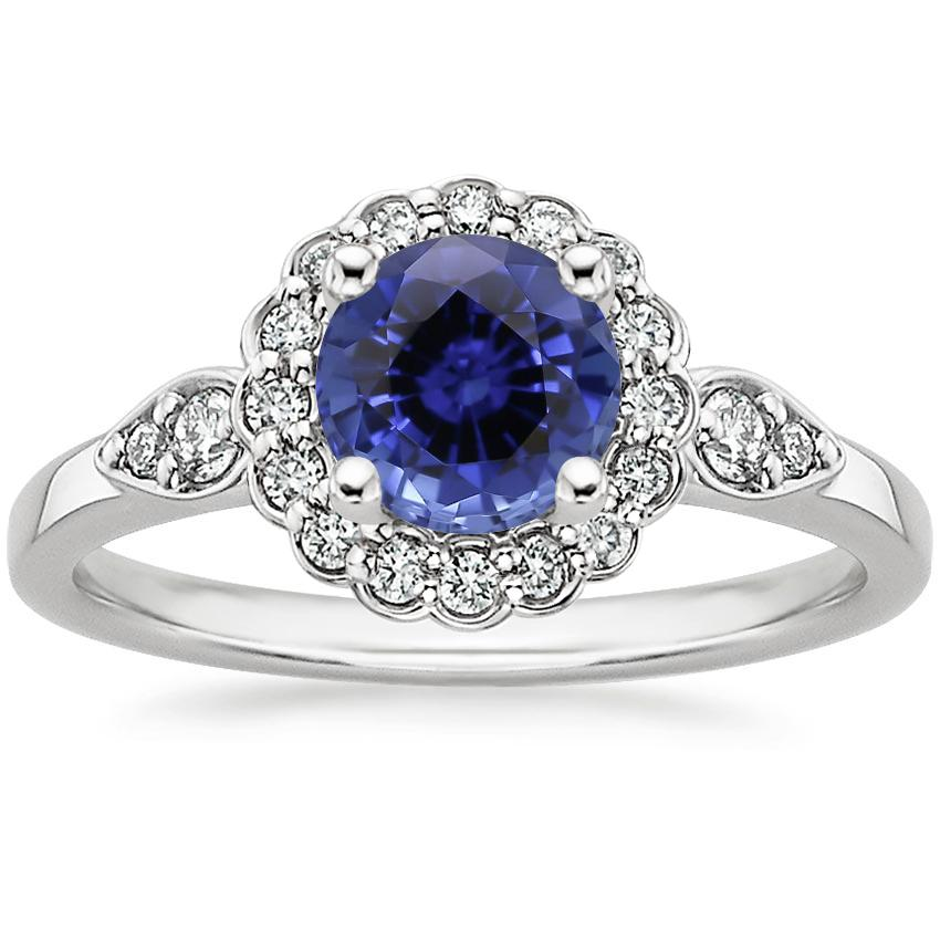 Sapphire Camillia Diamond Ring (1/4 ct. tw.) in 18K White Gold