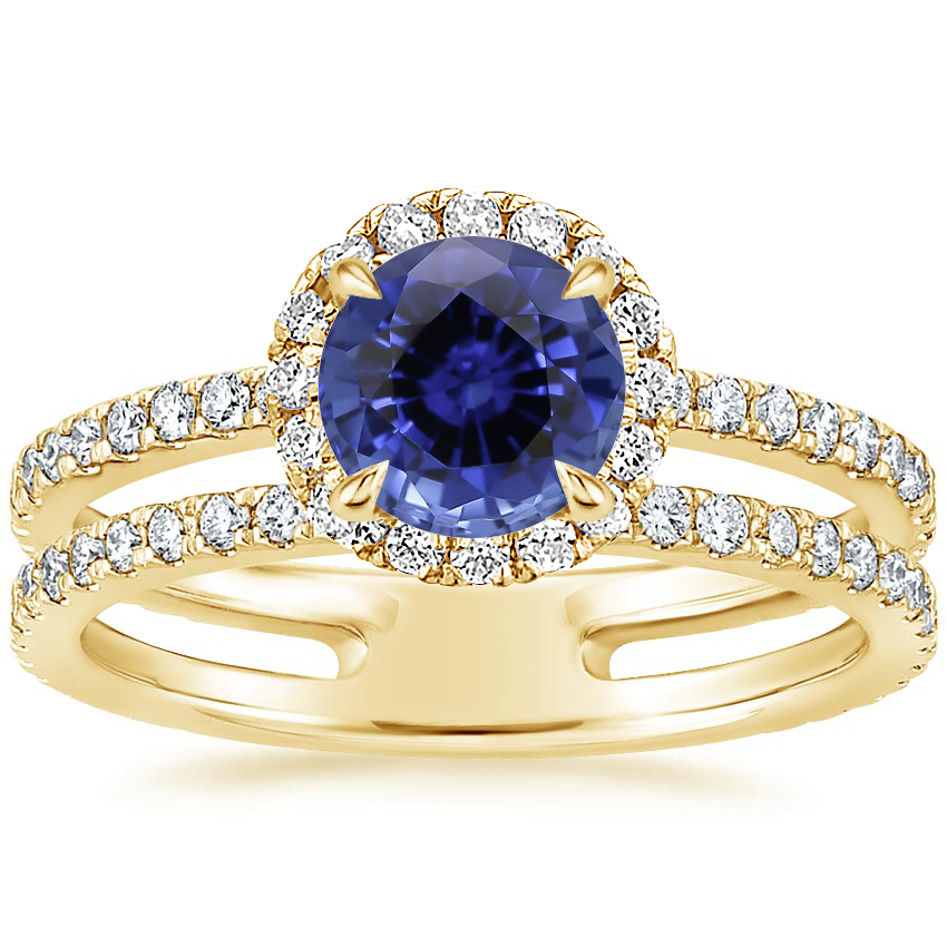Yellow Gold Sapphire Linnia Halo Diamond Ring (2/3 ct. tw.)