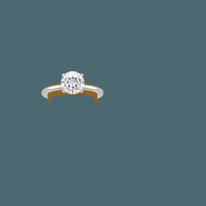 Moissanite Secret Halo Diamond Ring In 18K White Gold