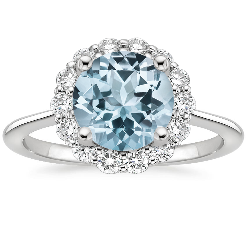 Aquamarine Calla Diamond Ring (1/3 ct. tw.) in 18K White Gold