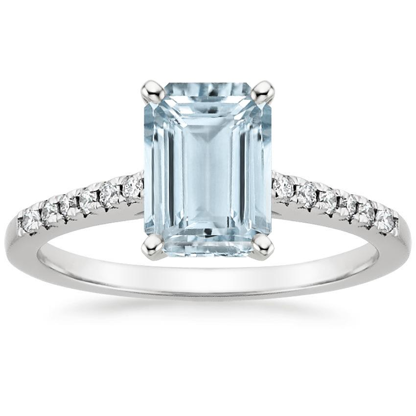 Aquamarine Sonora Diamond Ring in 18K White Gold