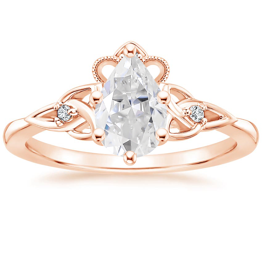 Rose Gold Moissanite Celtic Crown Diamond Ring