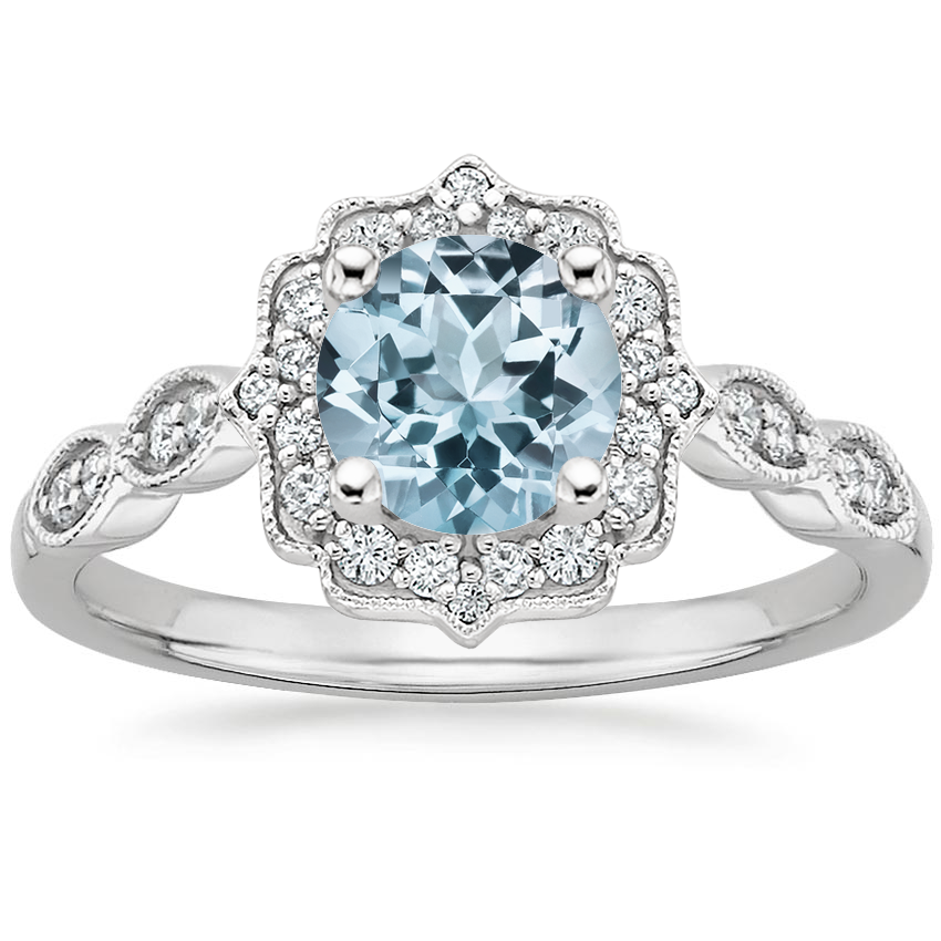 Aquamarine Cadenza Halo Diamond Ring in 18K White Gold