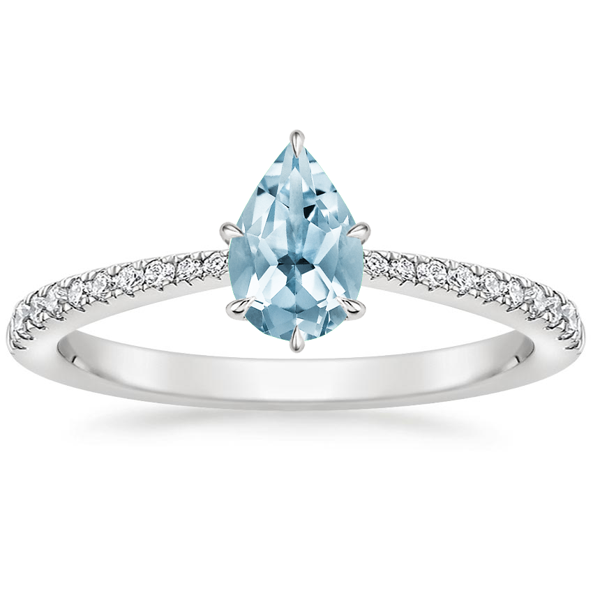 Aquamarine Elena Diamond Ring in Platinum