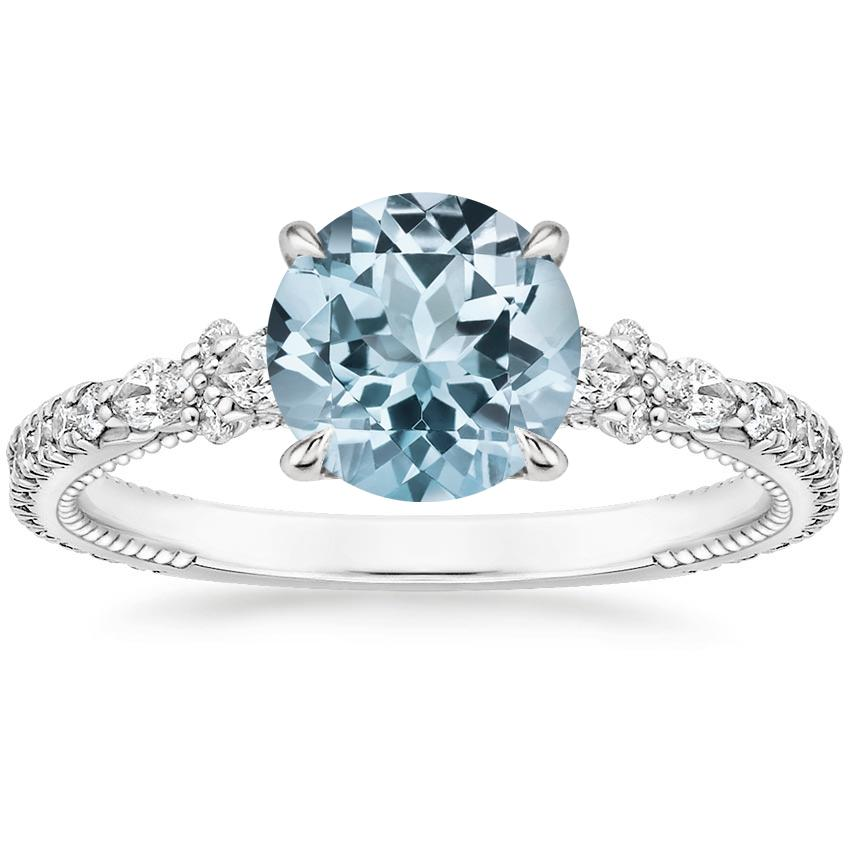 Aquamarine Primrose Diamond Ring in 18K White Gold