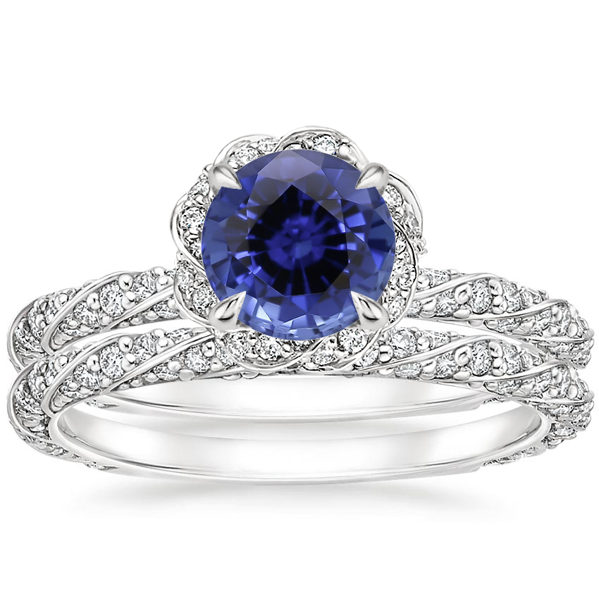 18KW Sapphire Nova Diamond Bridal Set (3/4 ct. tw.), top view