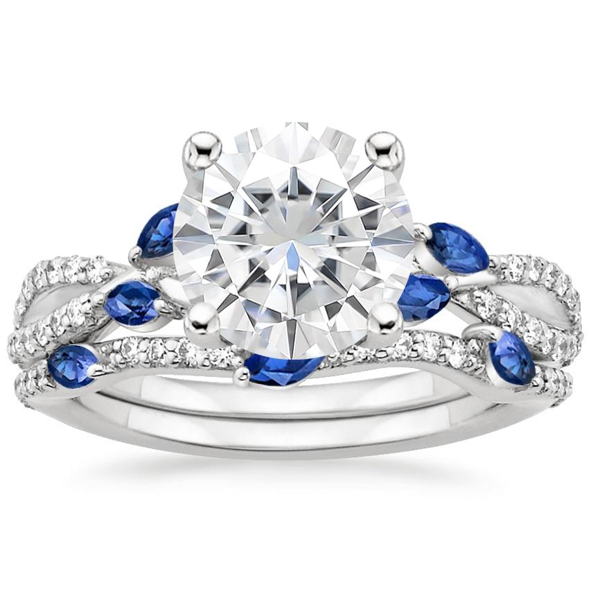 PT Moissanite Luxe Willow Sapphire and Diamond Bridal Set (1/4 ct. tw.), top view