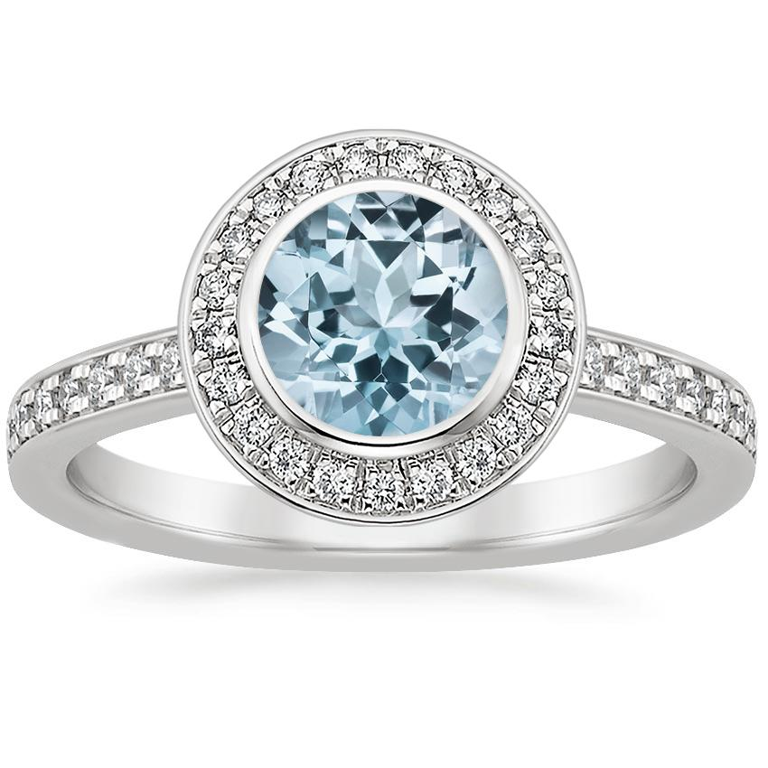 Aquamarine Malia Diamond Ring (1/4 ct. tw.) in Platinum