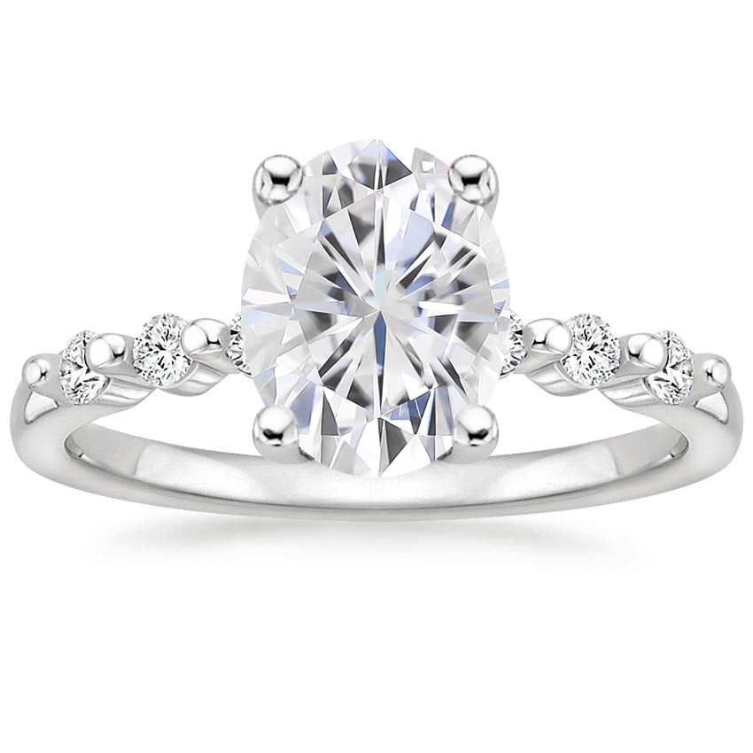 Moissanite Petite Marseille Diamond Ring (1/6 ct. tw.) in 18K White Gold