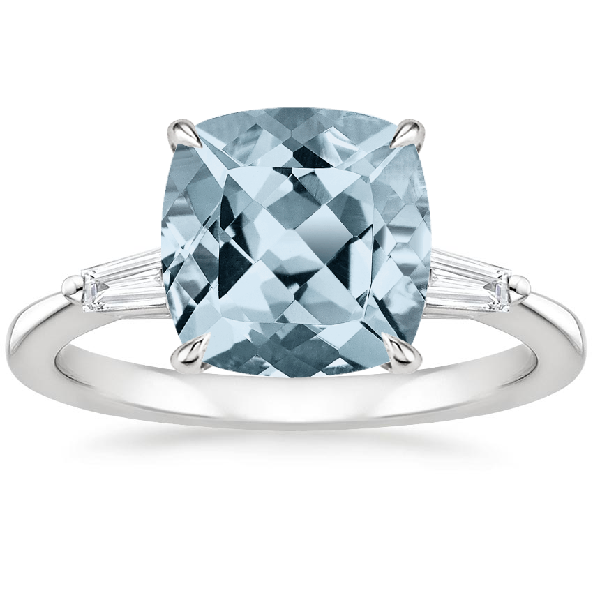 Aquamarine Quinn Diamond Ring in 18K White Gold