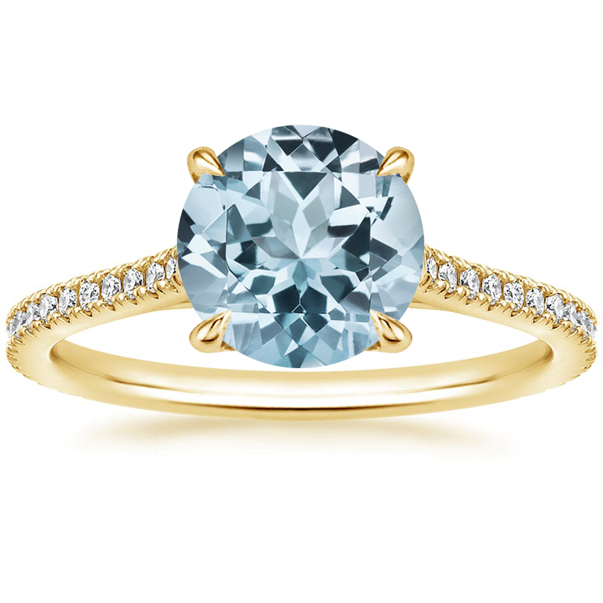 Yellow Gold Aquamarine Luxe Lissome Diamond Ring (1/5 ct. tw.)