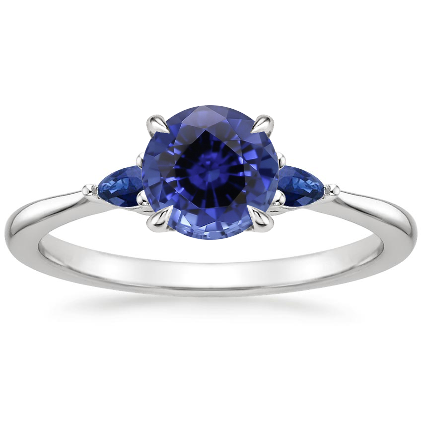 Sapphire Aria Ring with Sapphire Accents in Platinum
