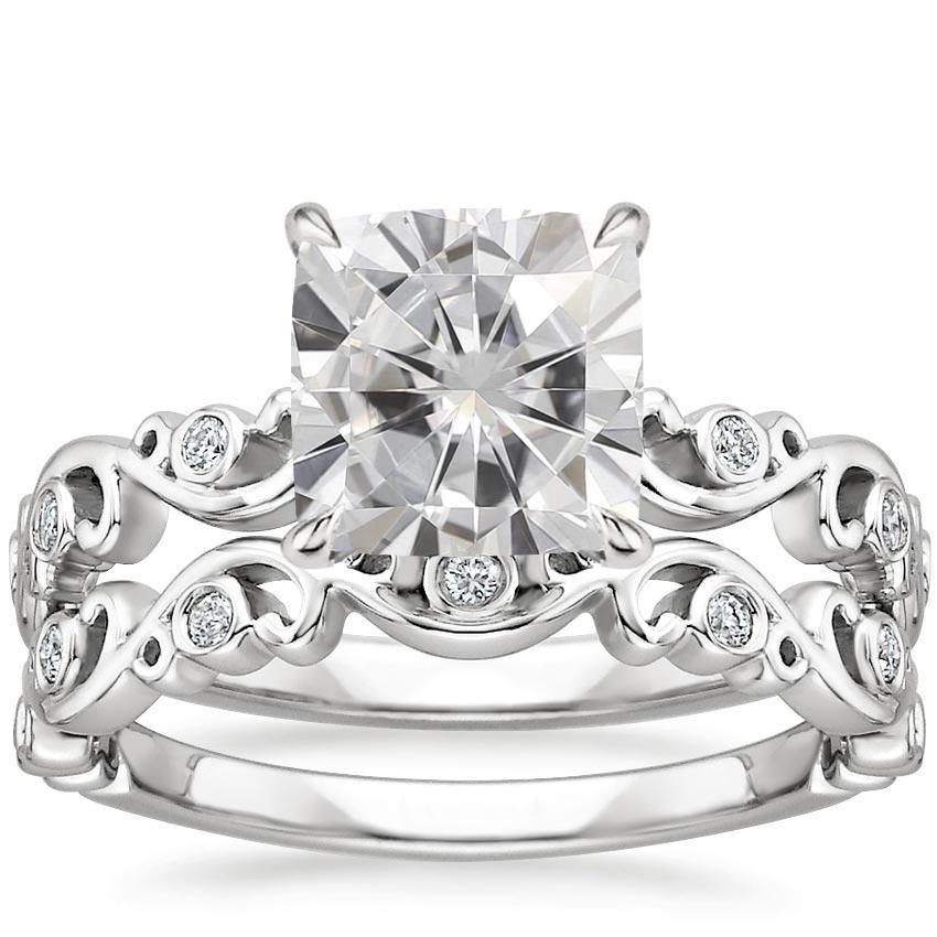 Ivy Scroll Bands: Moissanite Petite Ivy Scroll Diamond Bridal Set In 18K