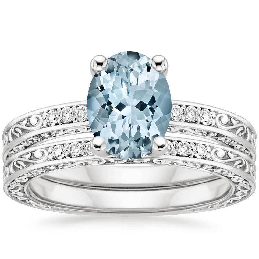 18KW Aquamarine Delicate Antique Scroll Diamond Bridal Set, top view