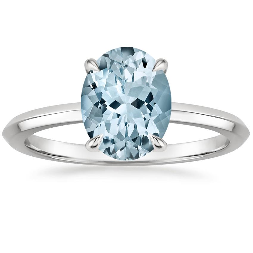 Aquamarine Hazel Ring in 18K White Gold