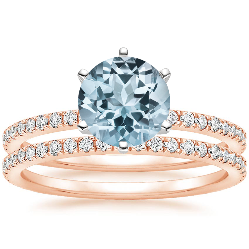 14KR Aquamarine Lyric Diamond Ring with Luxe Ballad Diamond Ring (1/4 ct. tw.), top view