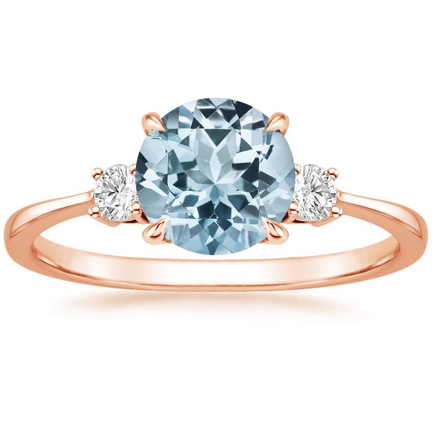 Rose Gold Aquamarine Selene Diamond Ring (1/10 ct. tw.)