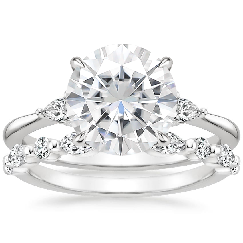 PT Moissanite Aria Diamond Ring (1/10 ct. tw.) with Versailles Diamond Ring (3/8 ct. tw.), top view