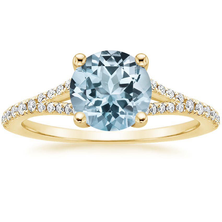 Yellow Gold Aquamarine Flair Diamond Ring