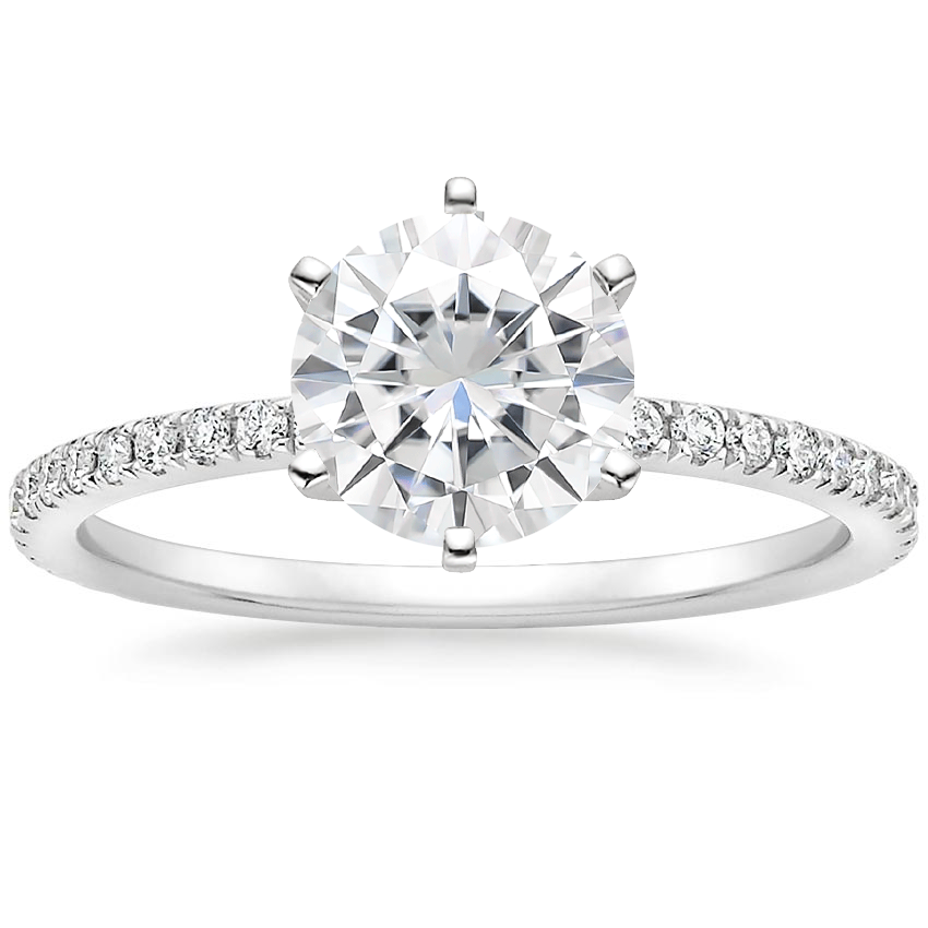 Moissanite Lyric Diamond Ring in 18K White Gold
