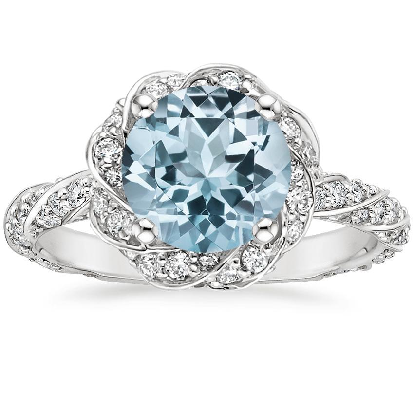 Aquamarine Cordoba Diamond Ring (1/2 ct. tw.) in 18K White Gold