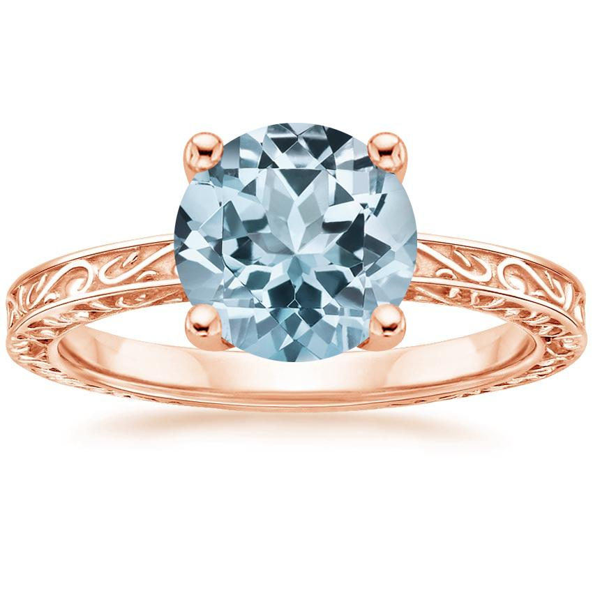 Rose Gold Aquamarine Delicate Antique Scroll Solitaire Ring