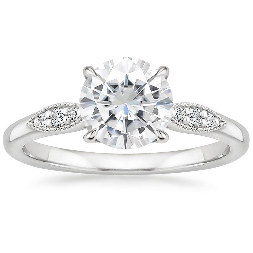Moissanite Isadora Diamond Ring in 18K White Gold