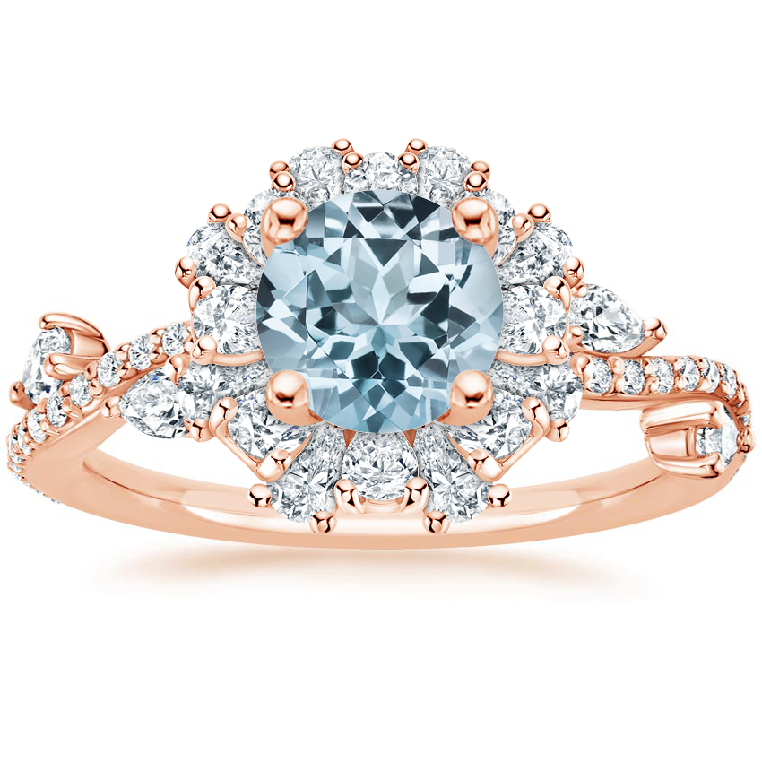Rose Gold Aquamarine Blooming Rose Diamond Ring (1 ct. tw.)