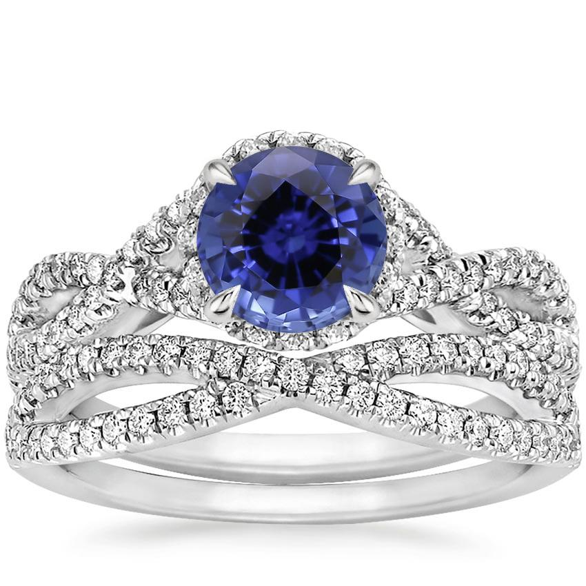 18KW Sapphire Entwined Halo Diamond Bridal Set (1/2 ct. tw.), top view