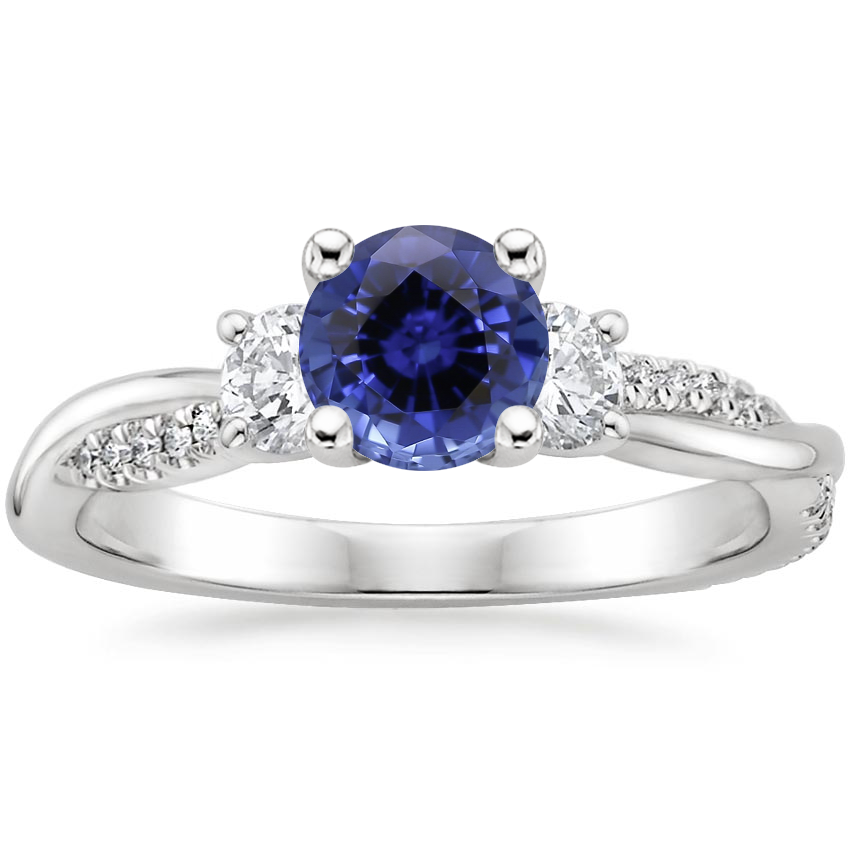 Sapphire Three Stone Petite Twisted Vine Diamond Ring (2/5 ct. tw.) in 18K White Gold