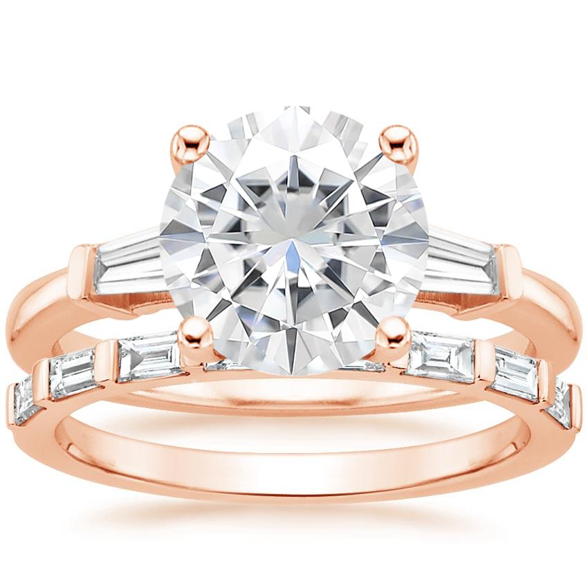 14KR Moissanite Tapered Baguette Diamond Ring (1/5 ct. tw.) with Barre Diamond Ring (1/4 ct. tw.), top view