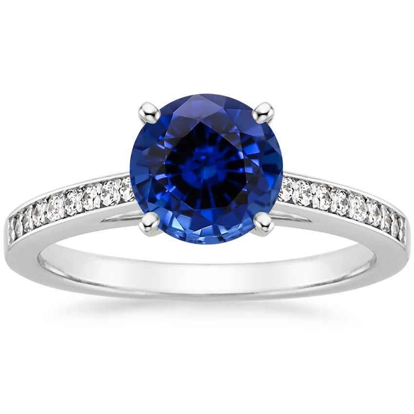 Lab Created Sapphire Starlight Diamond Ring in 18K White Gold