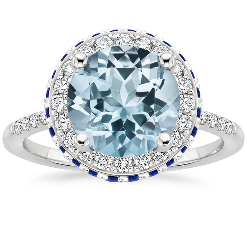 Aquamarine Circa Diamond Ring with Sapphire Accents (1/4 ct. tw.) in Platinum