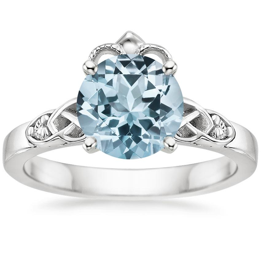Aquamarine Celtic Claddagh Diamond Ring in 18K White Gold