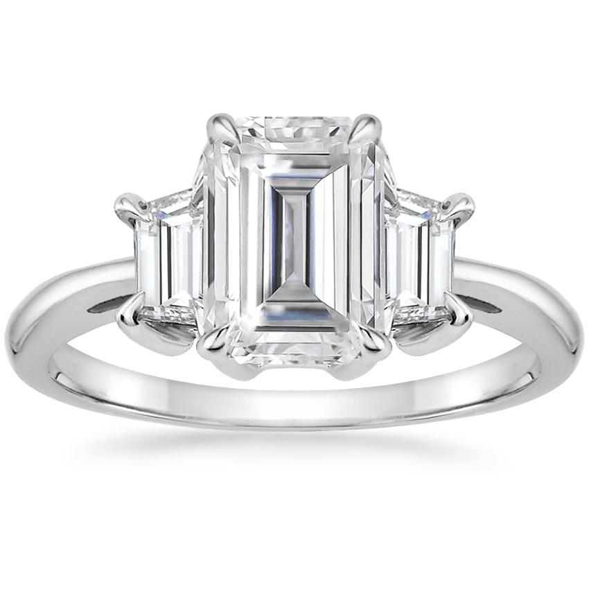 Moissanite Embrace Diamond Ring in 18K White Gold