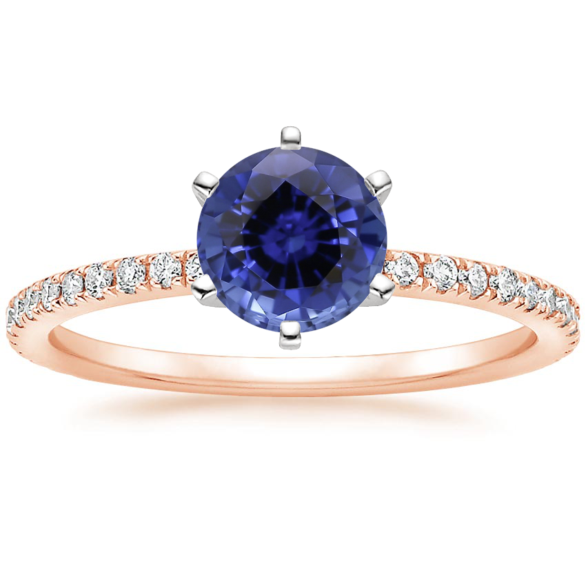 Rose Gold Sapphire Six-Prong Luxe Ballad Diamond Ring