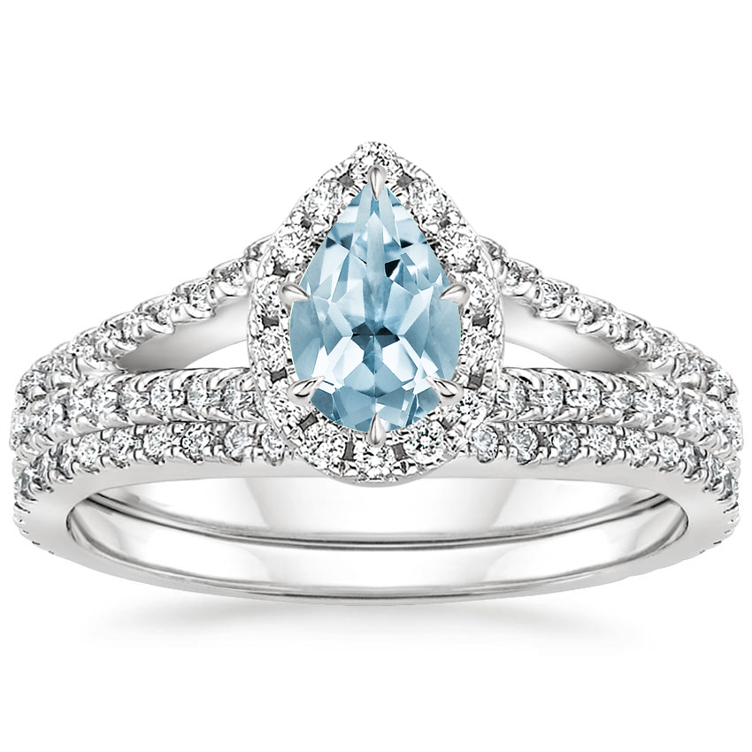 18KW Aquamarine Fortuna Diamond Bridal Set (2/3 ct. tw.), top view