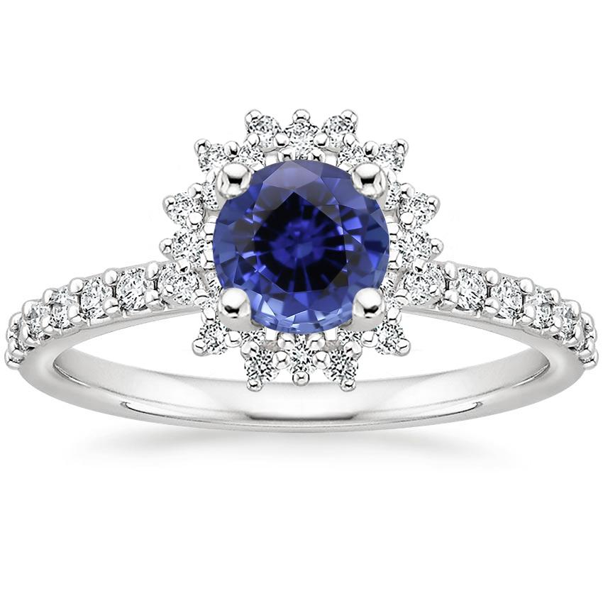 Sapphire Twilight Diamond Ring in 18K White Gold