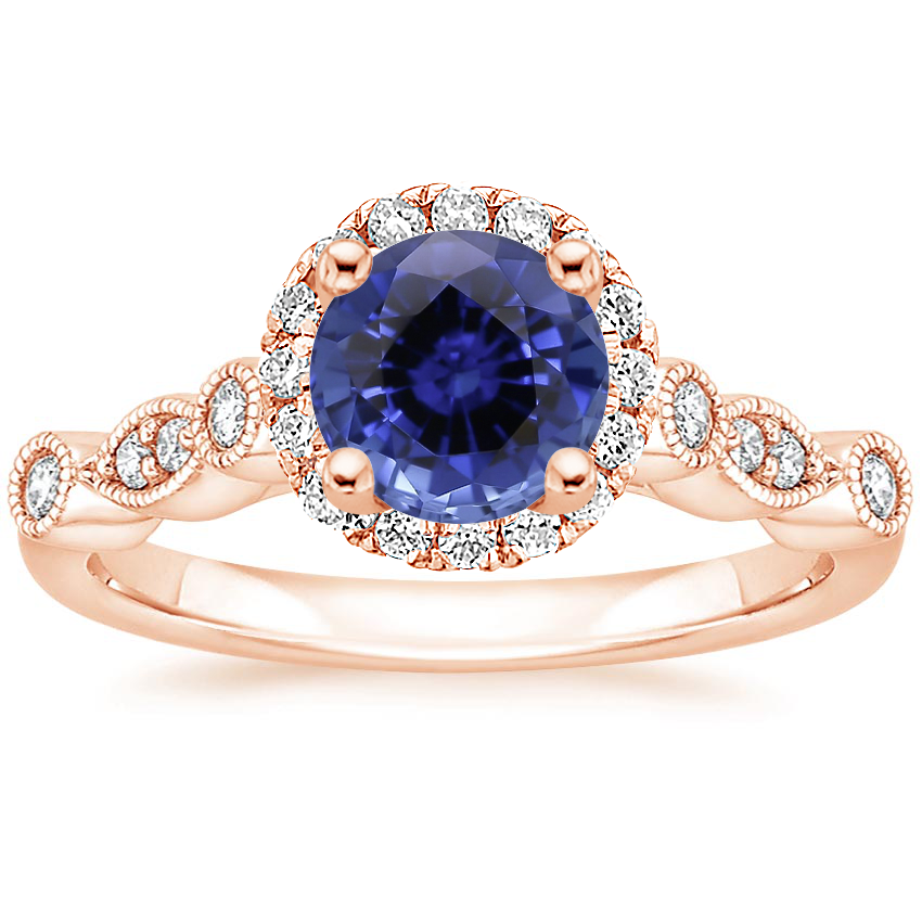 Rose Gold Sapphire Tiara Halo Diamond Ring (1/4 ct. tw.)