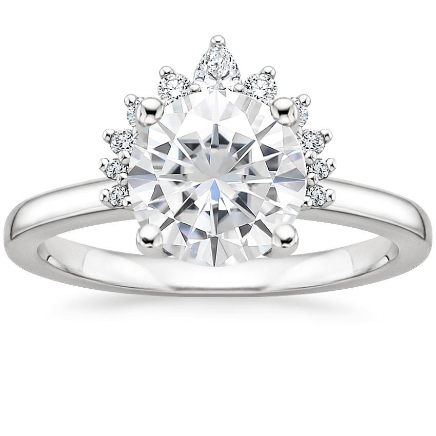 Moissanite Crescent Diamond Ring in 18K White Gold