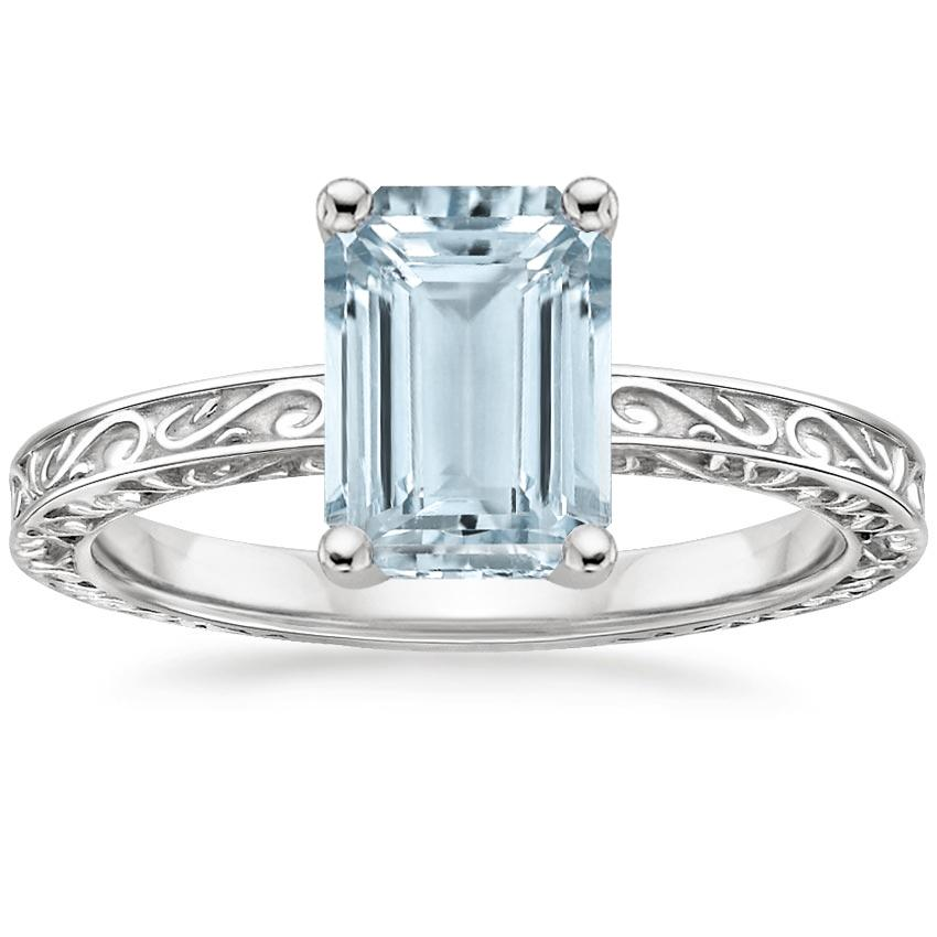 Aquamarine Delicate Antique Scroll Solitaire Ring in 18K White Gold