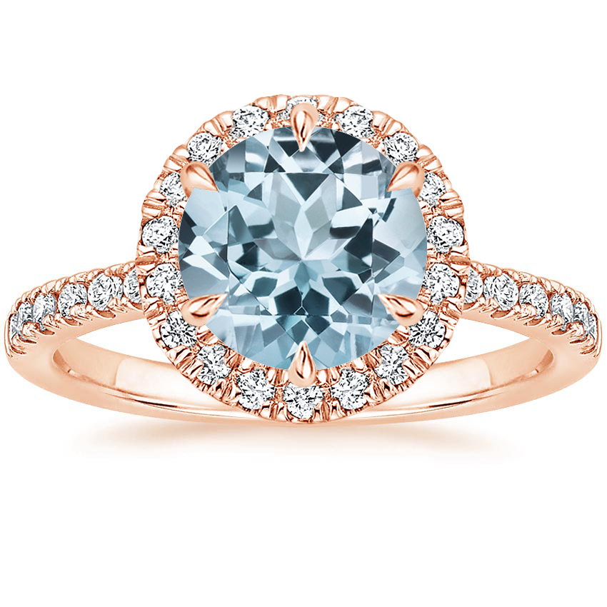 Rose Gold Aquamarine Poppy Halo Diamond Ring (1/3 ct. tw.)